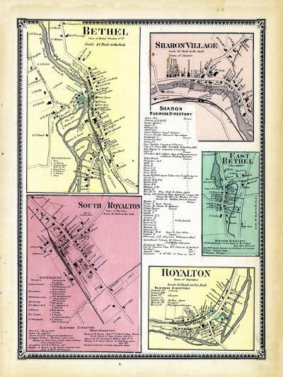 1869, Bethel, Sharon Village, Royalton South, Bethel East, Royalton Town, Vermont, United States--Giclee Print