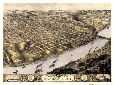 1869, Kansas City Bird's Eye View, Missouri, United States