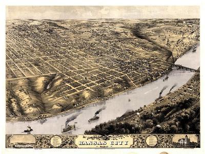 1869, Kansas City Bird's Eye View, Missouri, United States--Giclee Print