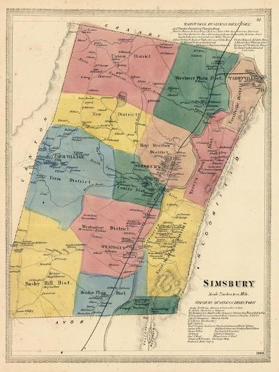1869, Simsbury, Connecticut, United States--Giclee Print