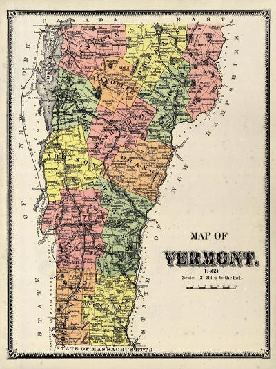 1869, Vermont Map, Vermont, United States--Giclee Print