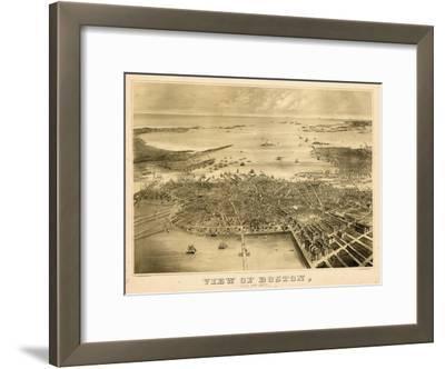 1870, Boston Bird's Eye View on July 4th, Massachusetts, United States