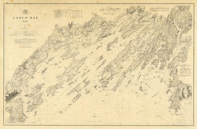 1870, Casco Bay Chart Maine, Maine, United States