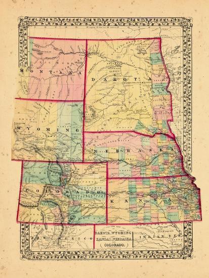 1870, Colorado, Kansas, Montana, Nebraska, North Dakota, South Dakota,  Wyoming Giclee Print by | Art.com