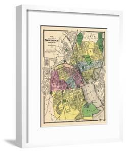 1870, Providence City Map, Rhode Island, United States
