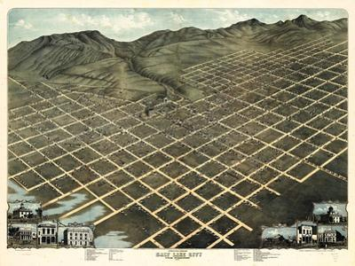 1870, Salt Lake City Bird's Eye View, Utah, United States
