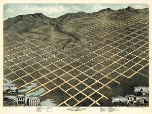 1870, Salt Lake City Bird's Eye View, Utah, United States