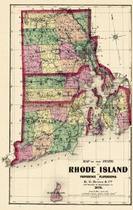 1870, State Map - Rhode Island, Providence and Plantations, Block Island, Rhode Island, United Stat