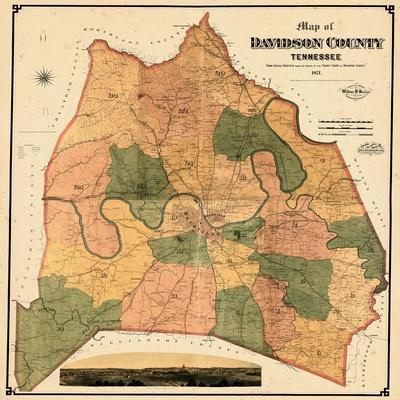 photograph regarding Printable Map of Nashville identify 1871, Davidson County and Nashville Wall Map, Tennessee, United Says Giclee Print by way of