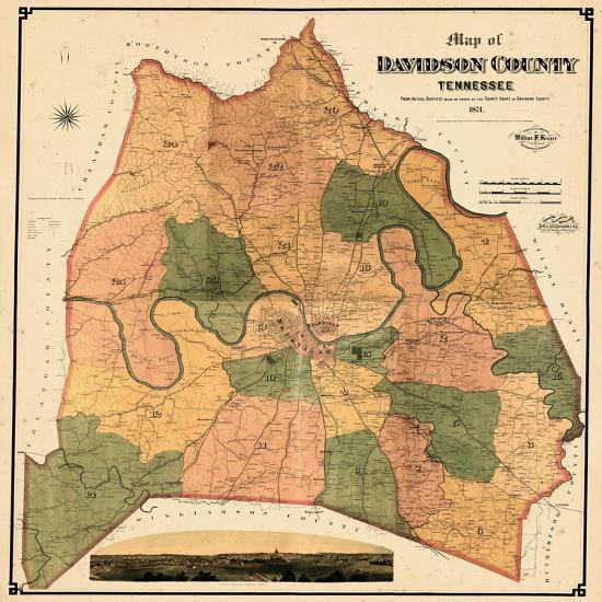 1871 Davidson County And Nashville Wall Map Tennessee United - Nashville-tennessee-on-us-map