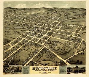 1871, Huntsville Bird's Eye View, Alabama, United States