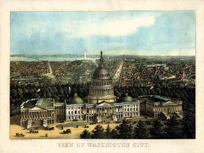 1871, Washington City and Capitol Bird's Eye View, District of Columbia, United States--Giclee Print