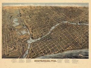 1872, Milwaukee Bird's Eye View, Wisconsin, United States