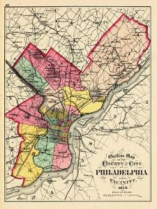 1872, Philadelphia County and City Outline Map, Pennsylvania, United States