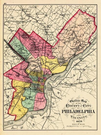 1872 Philadelphia County And City Outline Map Pennsylvania - Philadelphia-on-the-us-map