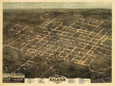 1872, Raleigh Bird's Eye View, North Carolina, United States
