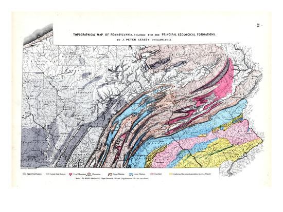 1872 Topographical Map Pennsylvania United States Giclee Print By