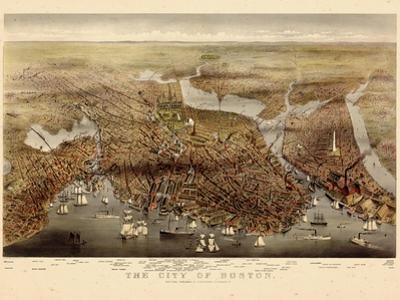 1873, Boston Bird's Eye View, Massachusetts, United States