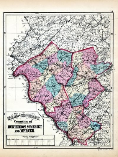 1873, Hunterdon, Somerset and Mercer Counties Map, New Jersey, United States--Giclee Print