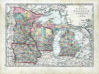 1873, Michigan, Wisconsin, Minnesota, Iowa, USA--Giclee Print