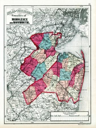 1873, Middlesex and Monmouth Counties, New Jersey, United States--Giclee Print