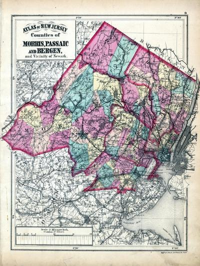 1873, Morris, Passaic and Bergen Counties Map, New Jersey, United States--Giclee Print