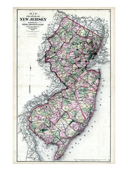 1873, New Jersey State Map, New Jersey, United States Giclee Print ...