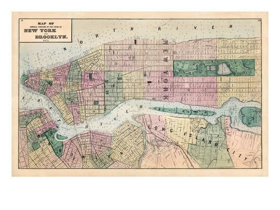 Map Of New York Brooklyn.1873 New York And Brooklyn Cities Central Portions Map New York United States Giclee Print By Art Com