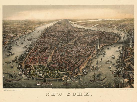 1873, New York City, 1873, Bird's Eye View, New York, United States--Premium Giclee Print