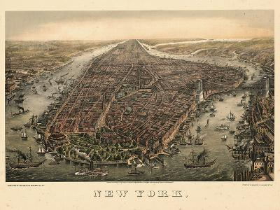 1873, New York City, 1873, Bird's Eye View, New York, United States--Giclee Print