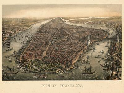 1873, New York City, 1873, Bird's Eye View, New York, United States
