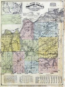 1874, Johnson County Sectional Map, Kansas, United States