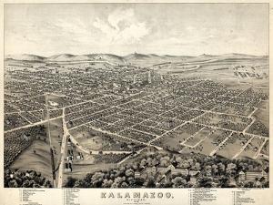 1874, Kalamazoo Bird's Eye View, Michigan, United States