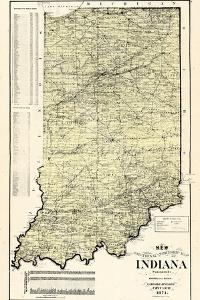 1874, State Map, Indiana, United States