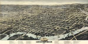 1874, Wilmington Bird's Eye View, Delaware, United States