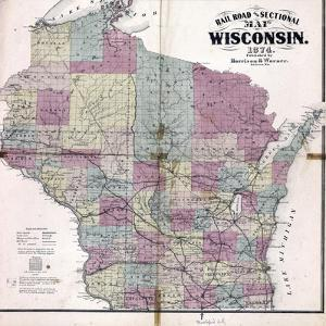 1874, Wisconsin Railroad and Sectional Map, Wisconsin, United States