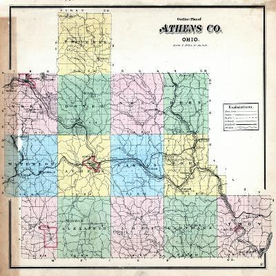 1875, Athens County Outline Map, Ohio, United States--Giclee Print