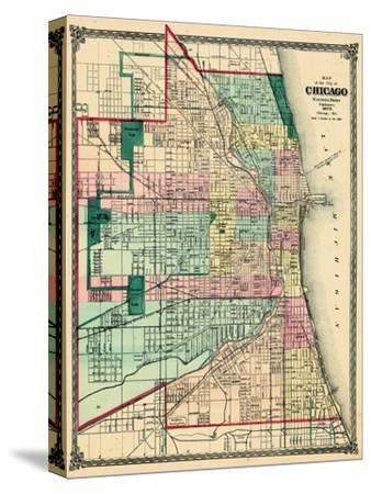 1875, Chicago City Map, Illinois, United States