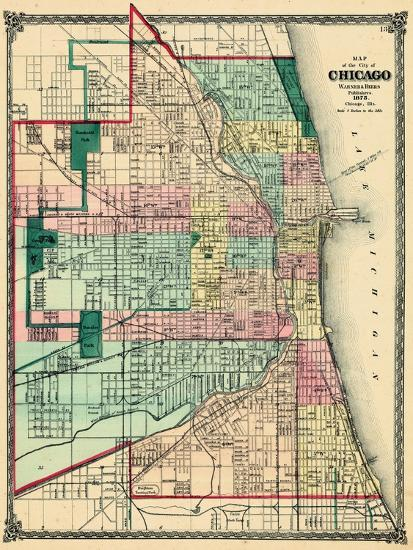 1875 Chicago City Map Illinois United States Giclee Print By - Chicago-illinois-us-map