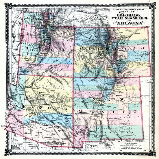 1875, Colorado, Utah, New Mexico and Arizona States Map, United States  Giclee Print by | Art.com