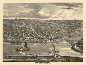 1875, Davenport Bird's Eye View, Iowa, United States