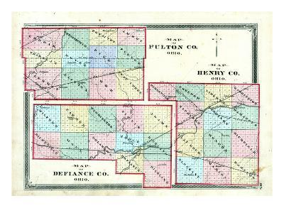 1875, Henry County, Fulton County, Defiance County Maps, Ohio, United States--Giclee Print