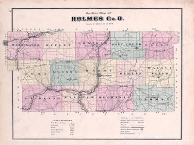 1875, Holmes County Map, Ohio, United States