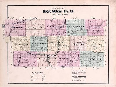 1875, Holmes County Map, Ohio, United States--Giclee Print