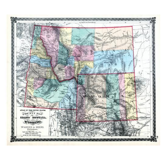 1875 Idaho Montana And Wyoming States Map United States Giclee Print By Art Com