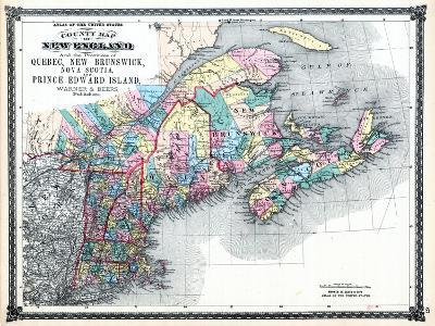 1875, New England and the Provinces of Quebec, New Brunswick, Nova Scotia, and Prince Edward Island--Giclee Print