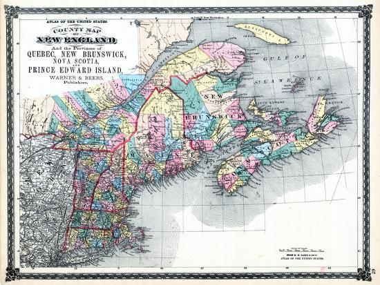 Map Of New England And Quebec.1875 New England And The Provinces Of Quebec New Brunswick Nova Scotia And Prince Edward Island Giclee Print By Art Com