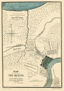 1875, New Orleans 1798 Drawn in 1875, Louisiana, United States