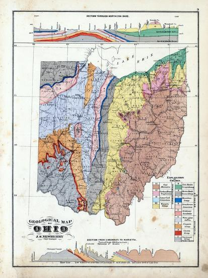 Geological Map Of United States.1875 Ohio State Geological Map Ohio United States Giclee Print By
