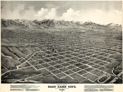 1875, Salt Lake City Bird's Eye View, Utah, United States